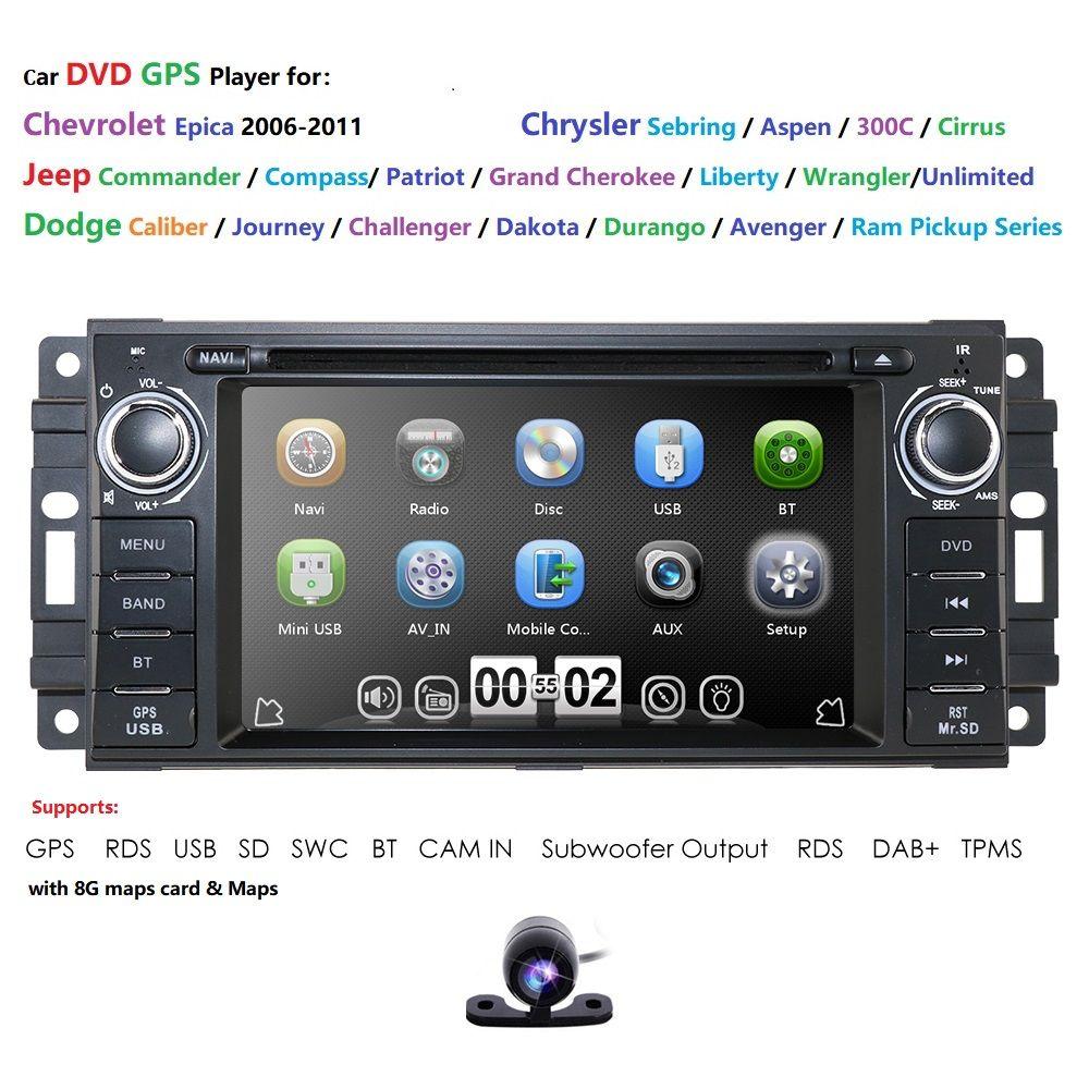 Für Dodge Ram Challenger Jeep Wrangler JK Kopf Einheit Einzel Din 6,2 Touch Screen In dash Radio Empfänger Navigation Bluetooth DAB +