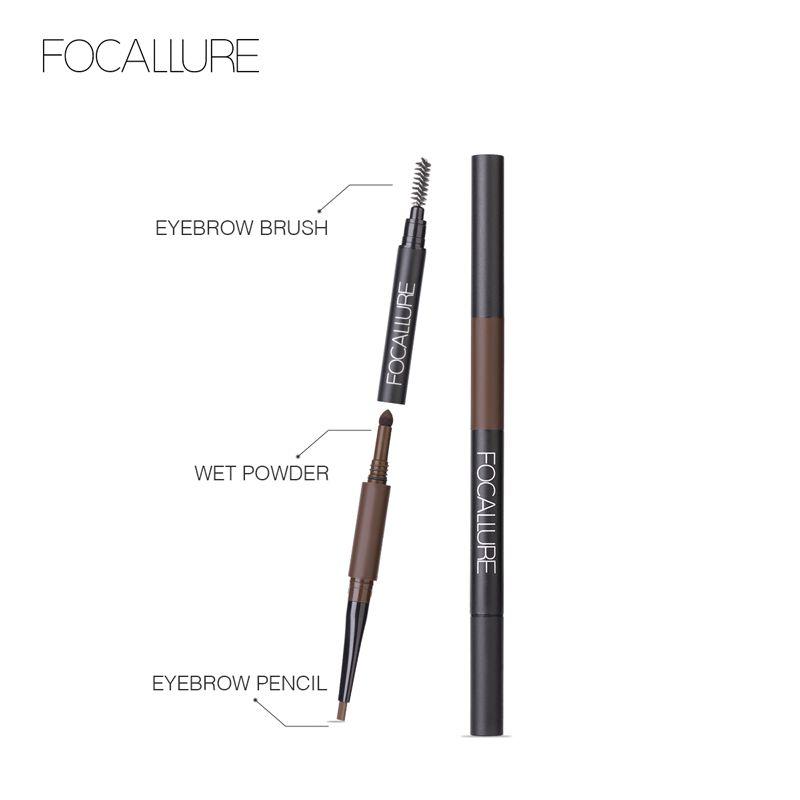 FOCALLURE Augen Make-Up Schatten Wasserdicht 3 in 1 Augenbraue Bleistift Augenbraue Farbton Natürliche Enhancer Bilden Langlebige Marke kosmetische