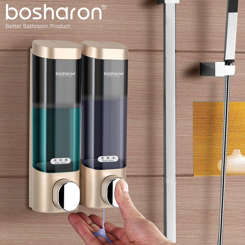Distributeur de savon liquide de salle de bains mural pour cuisine en plastique 300ml Gel de douche détergent shampooing bouteille hôtel accessoires pour la maison