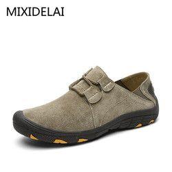 Mixidelai Kulit Asli Sepatu Kasual Pria Sepatu Kulit Pria Sepatu Bernapas Outdoor Training Sepatu Berjalan Chaussures Sneakers
