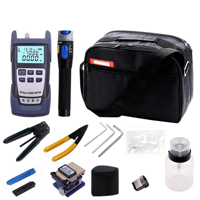 FTTH Glasfaser Tool Kit 12 teile/satz FC-6S Faser-spalter-70 ~ + 10dBm Optischen Leistungsmesser 5 km Laser pointe