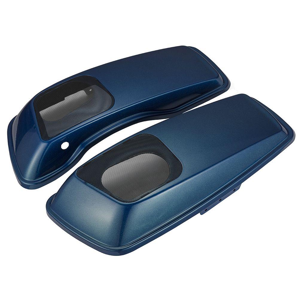 AdvanBlack  Daytona Blue Speaker Lids for Harley Davidson Street Electra Road Glide Road King14-18