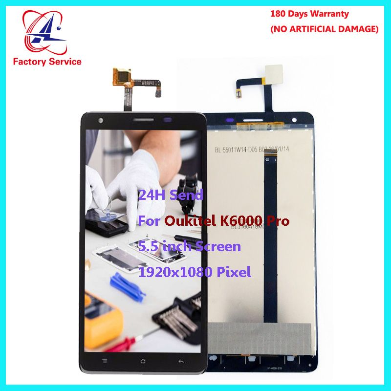 For Original Oukitel K6000 Pro LCD Screen Display+Touch Screen Digitizer Sensor Assembly Replacement 5.5