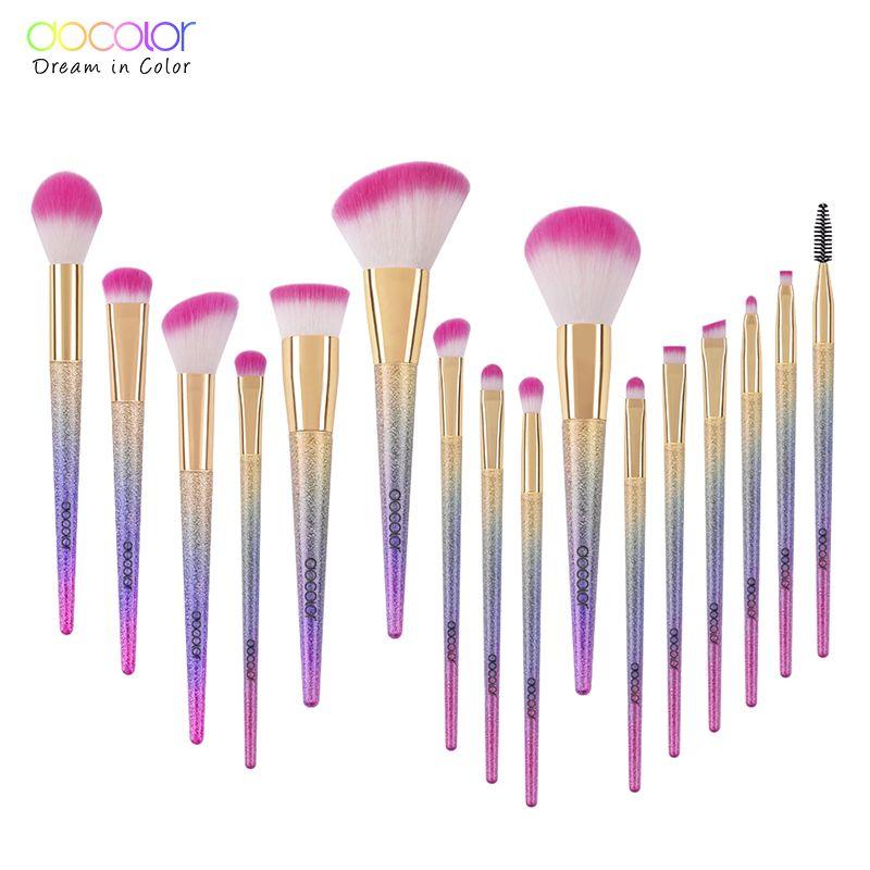 Docolor pinceaux de maquillage 10 pièces/16 pièces maquillage fantaisie ensemble fond de teint poudre fard à paupières Kits contour brosse maquillage pinceau ensemble