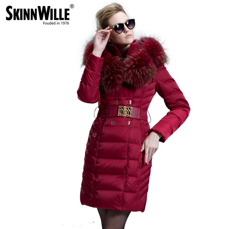 2017 fashion luxury large fur collar high quality medium-long down coat female thickening women's outerwear female