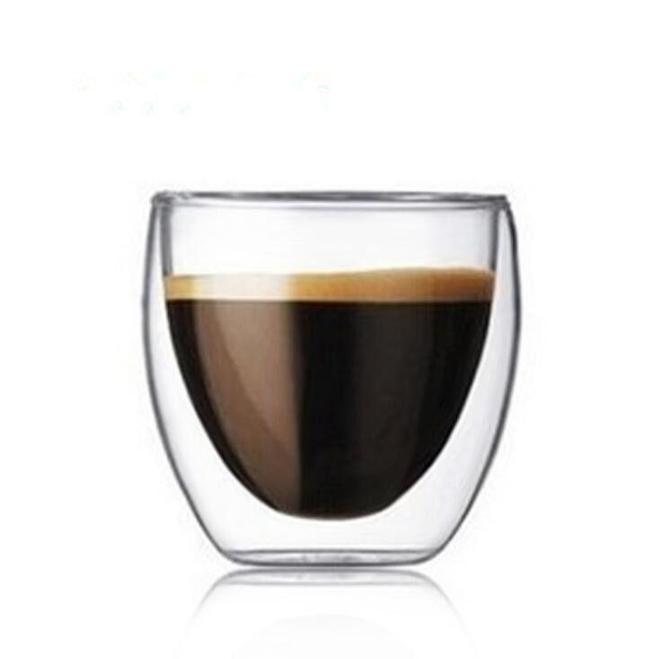 250 ml Main Saine Thé & Café Tasse et Tasse Résistant À La Chaleur Cristal Double Mur de Verre pour le Spiritueux Vin Rouge vin