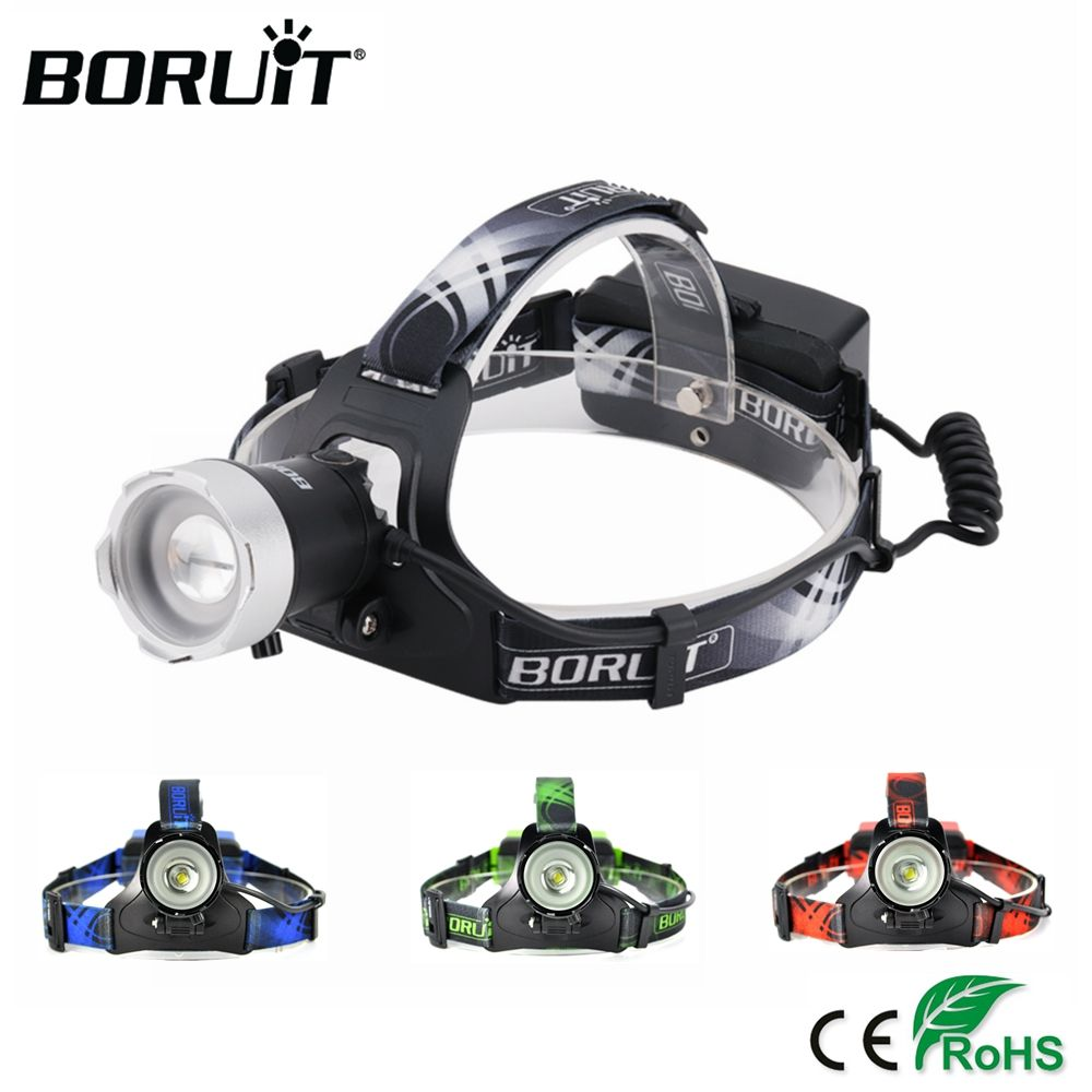 BORUiT B13 2000LM XM-L2 LED Headlight 3-Mode Zoom Headlamp USB Rechargeable Power Bank Head Torch Fishing Hunting Frontal Lamp