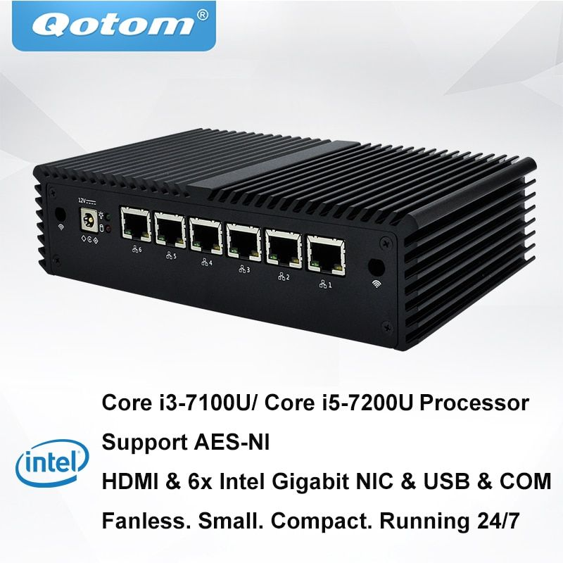 QOTOM 6 Gigabit Lan Mini PC with 7th Core i5-7200U I3-7100U Processor Dual core 2.4 GHz Preload pfSense Fanless Firewall Router