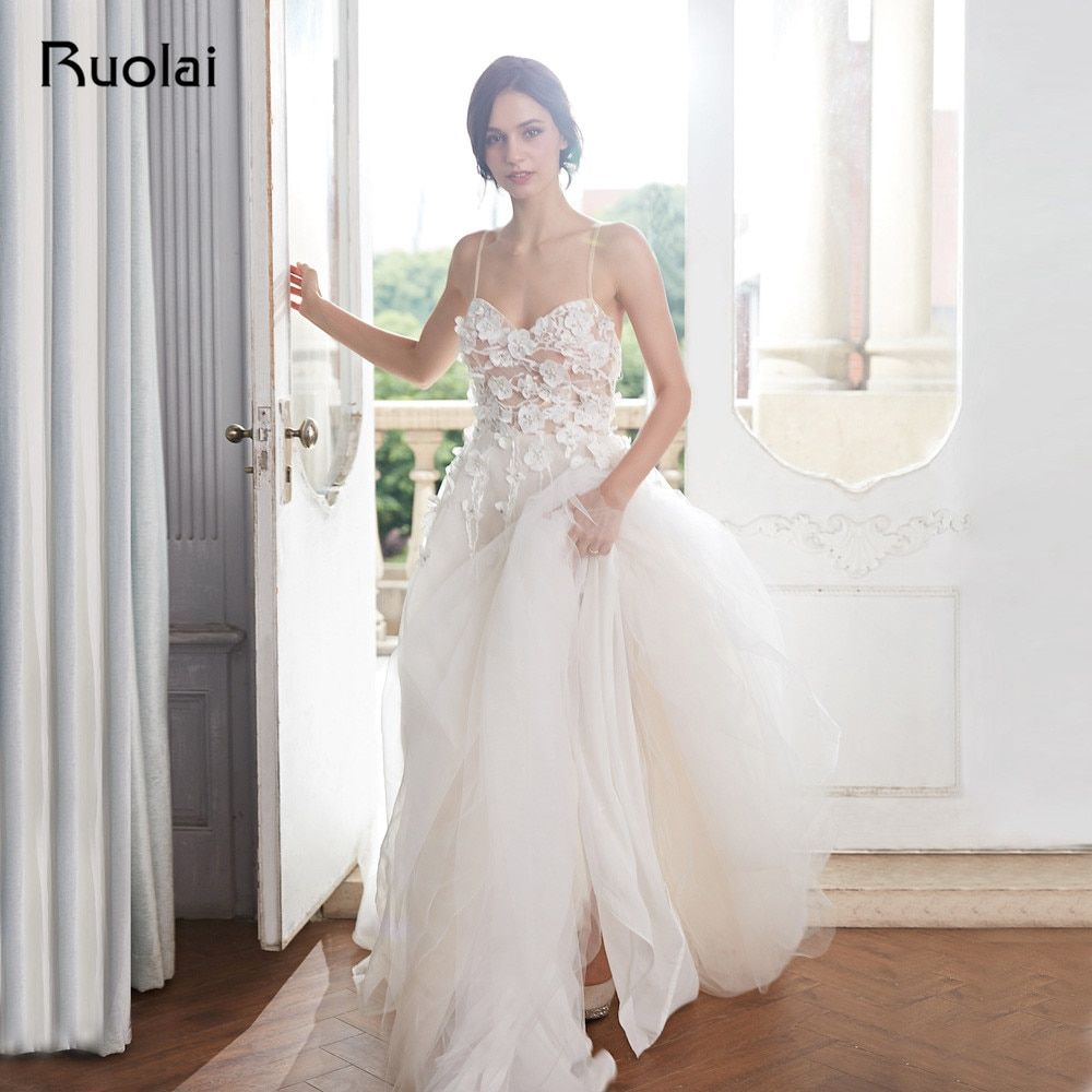 Boho Wedding Dresses 2018 A-Line Sweetheart Beach Wedding Gown Floral Beaded Light Champagne Bridal Gown Robe de Mariee RW16