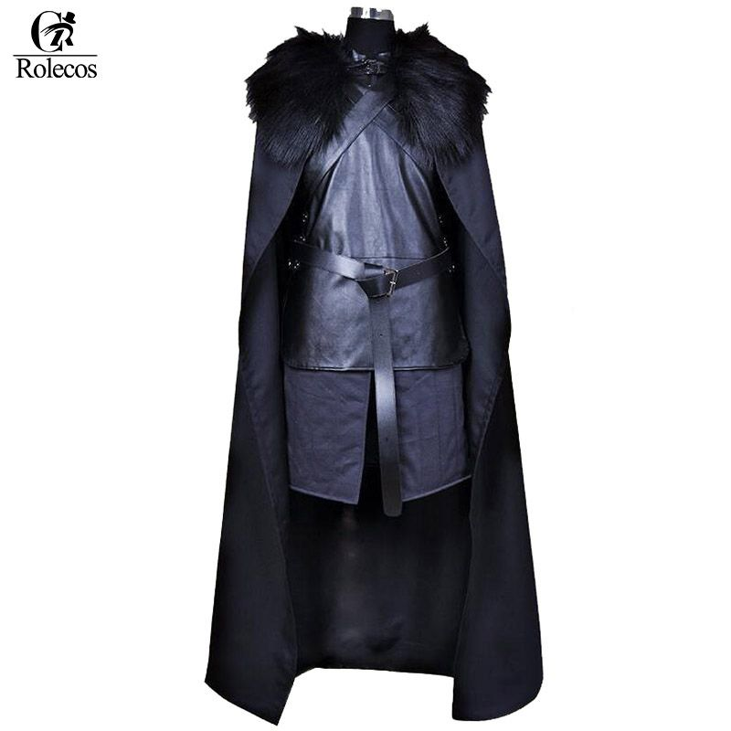 Rolecos Brand American TV Series Game of Thrones Cosplay Costume Jon Snow Cosplay Knight Role Play Costume Halloween