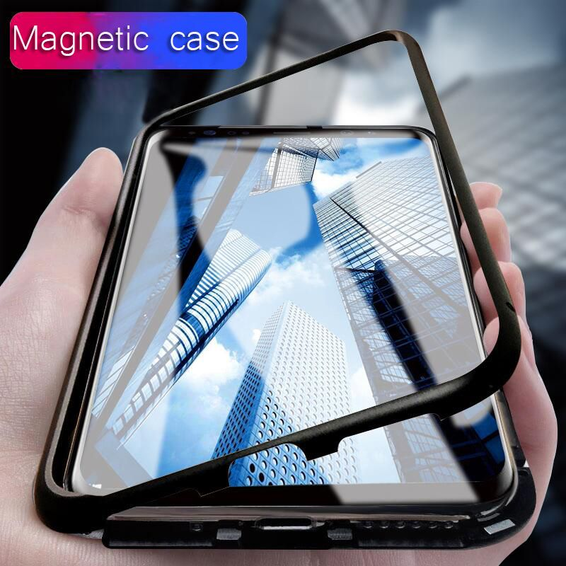 Magnet Metal bumper Case for Samsung Galaxy note 8 Magnetic Adsorption Case for Samsung Galaxy S8 S9 plus Tempered Glass cases