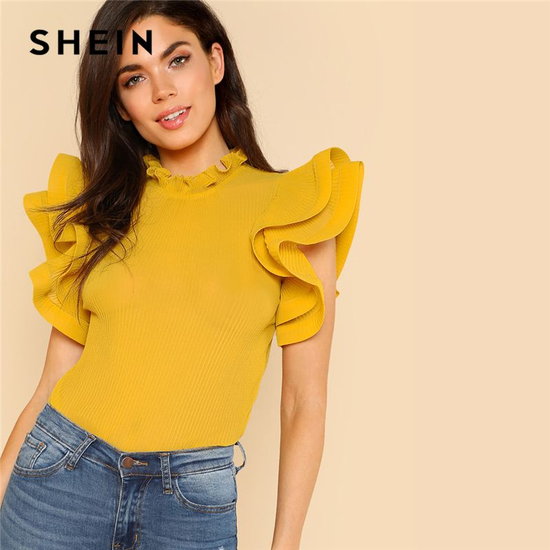 SHEIN Yellow Party Elegant Exaggerate Ruffle Trim Pleated Panel Stand Collar Blouse Summer <font><b>Women</b></font> Going Out Shirt Top