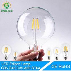 GreenEye Haute Luminosité E27 E14 LED Ampoule Cru Edison LED lampe 220 V Rétro Verre LED Filament Ampoule Lumière de Projecteur de Bougie Ampoule