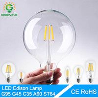 GreenEye alta brillante E27 E14 bombilla LED Edison lámpara de LED 220 V Retro de vidrio LED filamento de la bombilla de la vela de la luz de foco de la ampolla