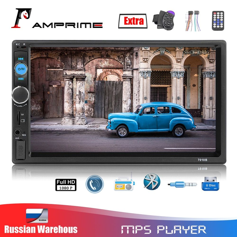 AMPrime Autoradio 2 din général voiture modèles 7 ''LCD tactile Bluetooth 2din Autoradio lecteur voiture Audio Aux FM avec caméra de recul