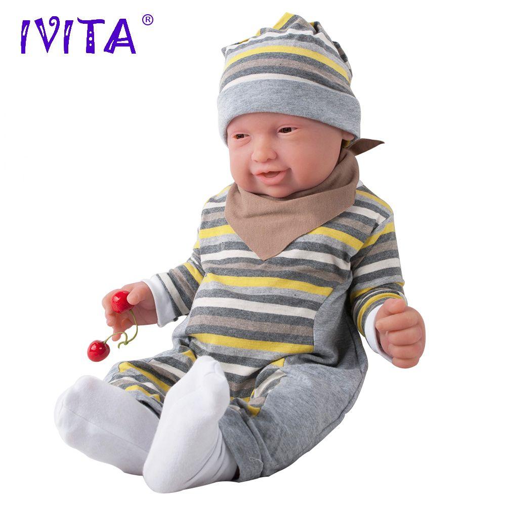 IVITA 59cm 5210g Silicone Reborn Babies Realistic Brown Eyes Soft Baby Silicone Dolls Lifelike Reborn Silicone Dolls Toys