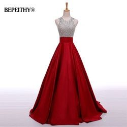 Real Image A Line Long Evening Dress Beadings Crystal Bodice Open Back Party Elegant 2019 Vestido De Festa New Prom Gowns