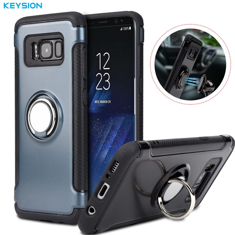 KEYSION Case for Samsung Galaxy S9 S8 Plus Note 9 N8 Car Holder Stand Magnetic Suction Bracket Finger Ring TPU + PC Cover for S7