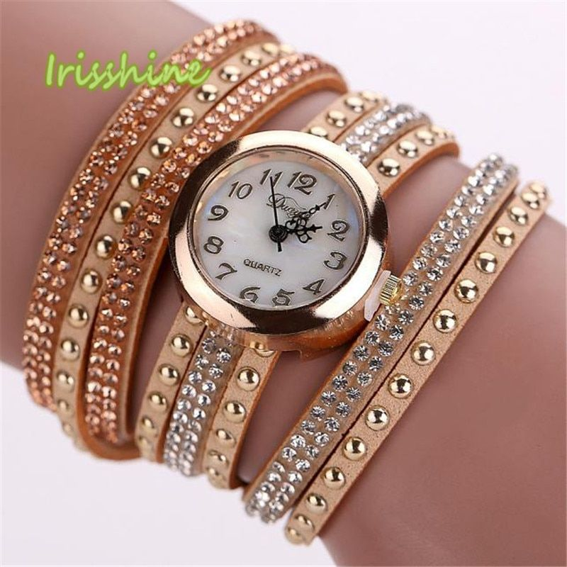 Irisshine i0569 Lady Women Duoya Femmes Mode Casual Bracelet En Cuir Montre-Bracelet Femmes Robe women watches gift