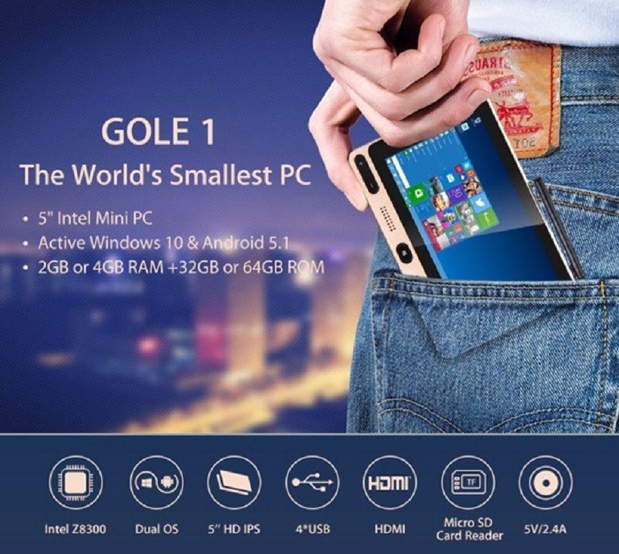 GOLE GOLE1 5 inch Mini PC Intel Cherry Trail Z8300 Quad-core Windows 10 / Android 5.1 Bluetooth 2.4GHz / 5GHz Dual-band WiFi