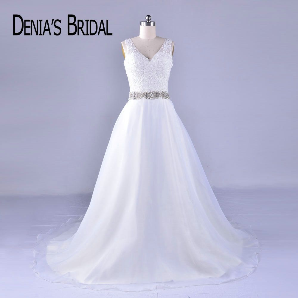 Real Elegant V Neck Lace Wedding Dresses with Beaded Sash Court Train Bridal Gowns Custom Made