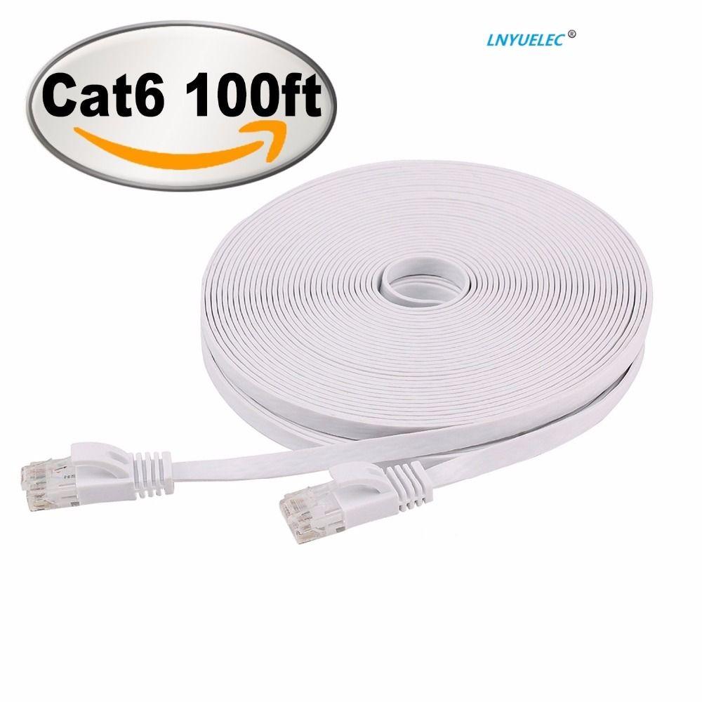 Cat 6 Wohnung Ethernet-kabel 100 ft Fast Ethernet Patchkabel Mit Snagless Rj45-steckverbinder-100 füße Weiß (30 Meter