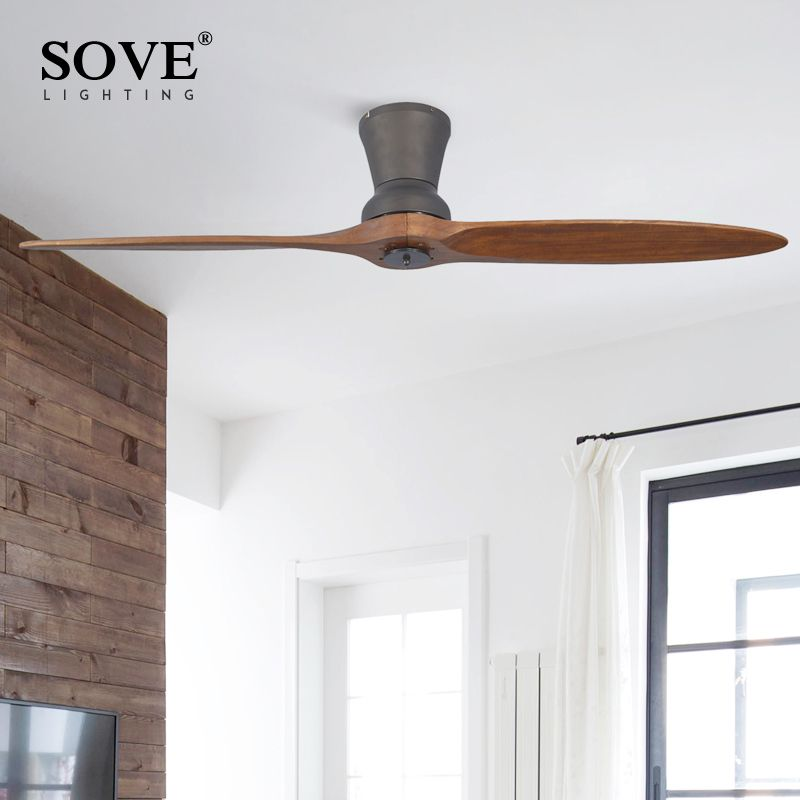 SOVE Black Village Industrial Wooden Ceiling Fan Wood Ceiling Fans Without Light Decorative Home Fan DC 220V Ventilador De Teto