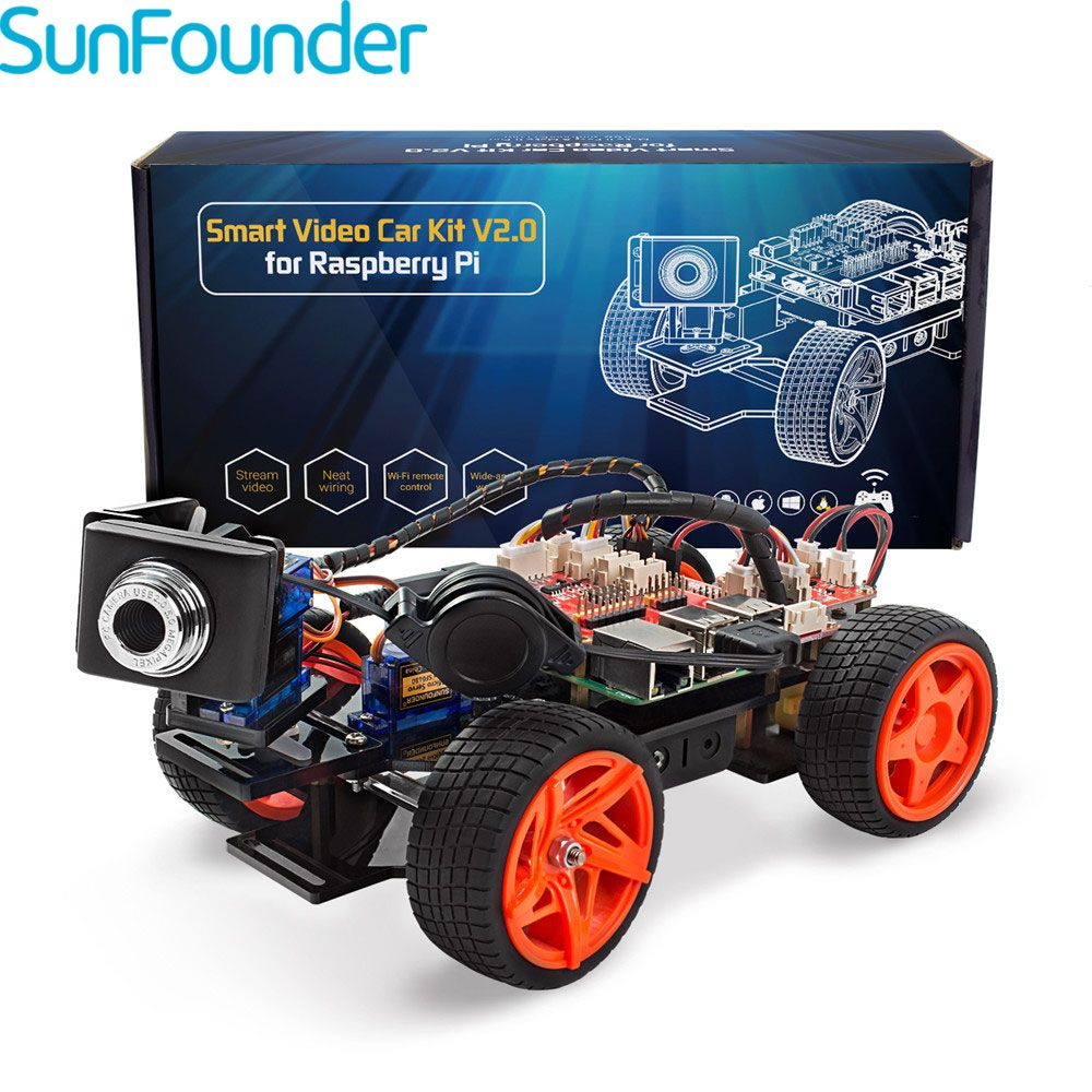 SunFounder Framboise Pi Smart Vidéo Voiture KitV2.0 Graphique Visuelle Langage de Programmation À Distance Contrôle par UI sur Windows/Mac et Web
