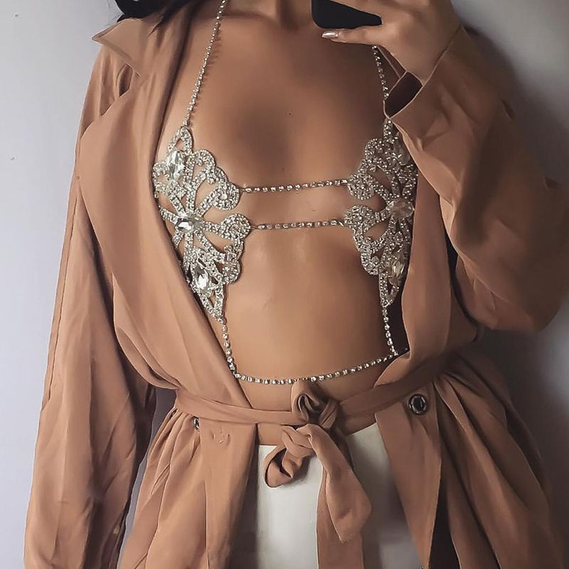 Manerson 2017 Fashion Luxury Sexy Flower Rhinestone Belly Body Chain Bra Statement Necklace For Women Summer Brassiere Jewelry