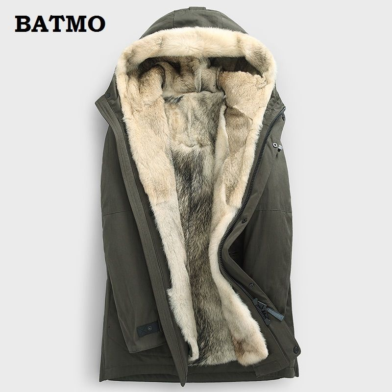 Batmo 2018 new arrival winter high quality warm wolf fur linner hooded jackets men,men's wolf linner parkas ,plus-size M-5XL