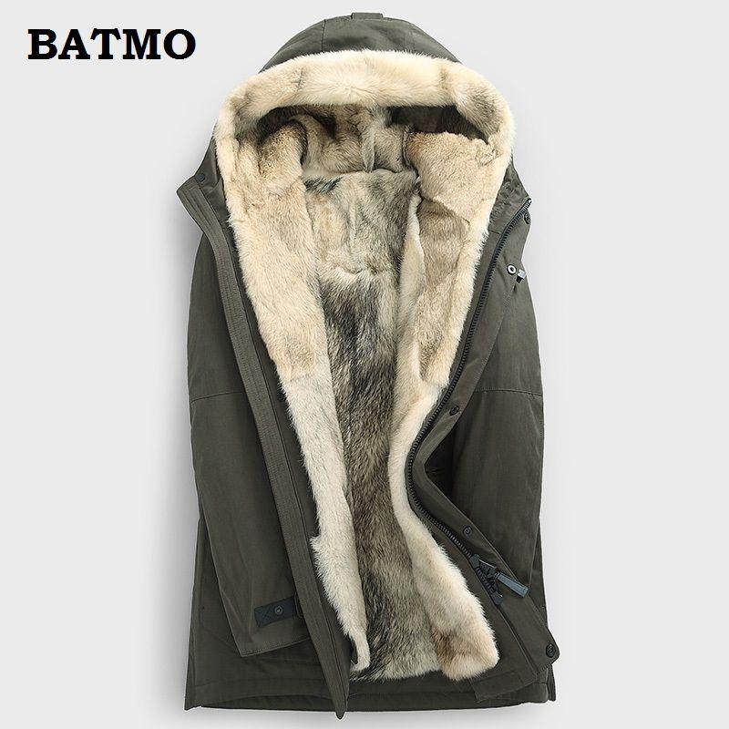 Batmo 2018 new arrival winter high quality warm wolf fur linner hooded jackets men,men's wolf linner parkas ,plus-size M-5XL
