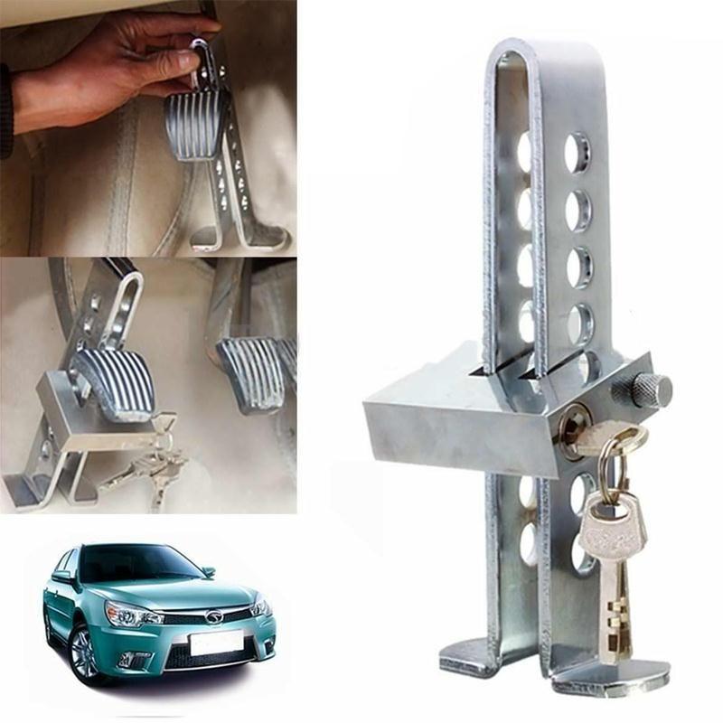 Vehemo C03 Brake Pedal Lock Car Auto Stainless Steel Clutch Locking Anti-theft Device Silver Car Brake Safety Lock Tool new