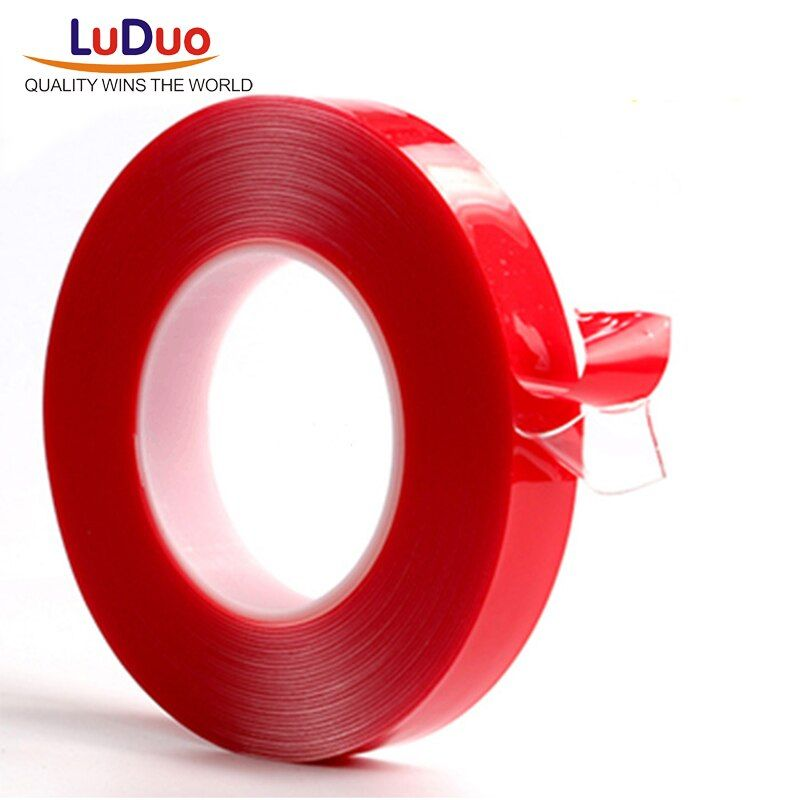 LUDUO 3m Red Double Sided Adhesive Tape High Strength Acrylic Gel Transparent No Traces Sticker for Car Auto Interior Fixed