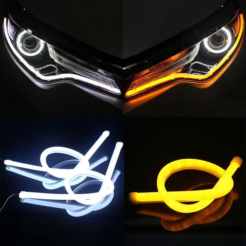 2 pcs 30cm 45cm 60cm vehicle DRL Flexible Tube Strip led car Daytime Running Lights Turn Signal Angel Eyes Car Styling