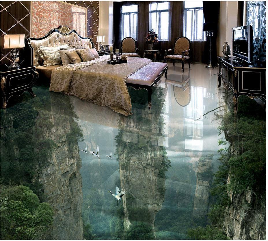 Montaña piso impermeable mural pintura foto de encargo 3d autoadhesiva piso decoración del hogar 3d baldosas