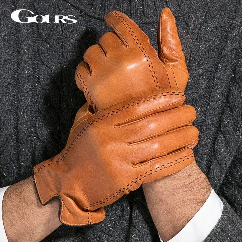 Gours hiver hommes gants en cuir véritable 2018 nouvelle marque écran tactile gants mode chaud noir gants en peau de chèvre mitaines GSM012