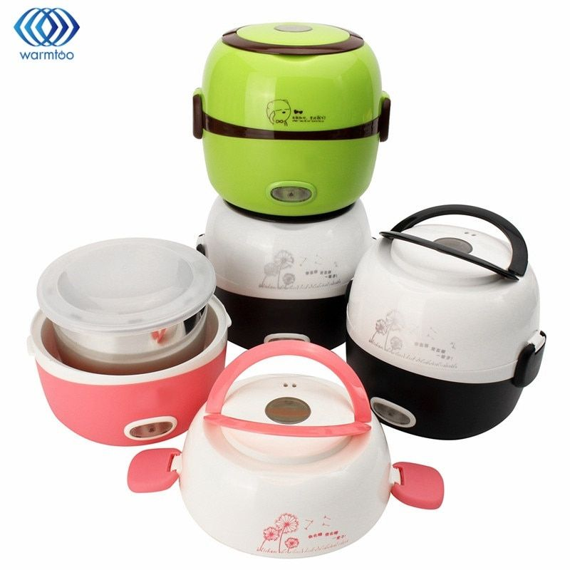 Electric Rice Cooker Insulation Heating Portable 1.3L Electric Lunchbox 2 Layers Steamer Multifunction Automatic Food Container
