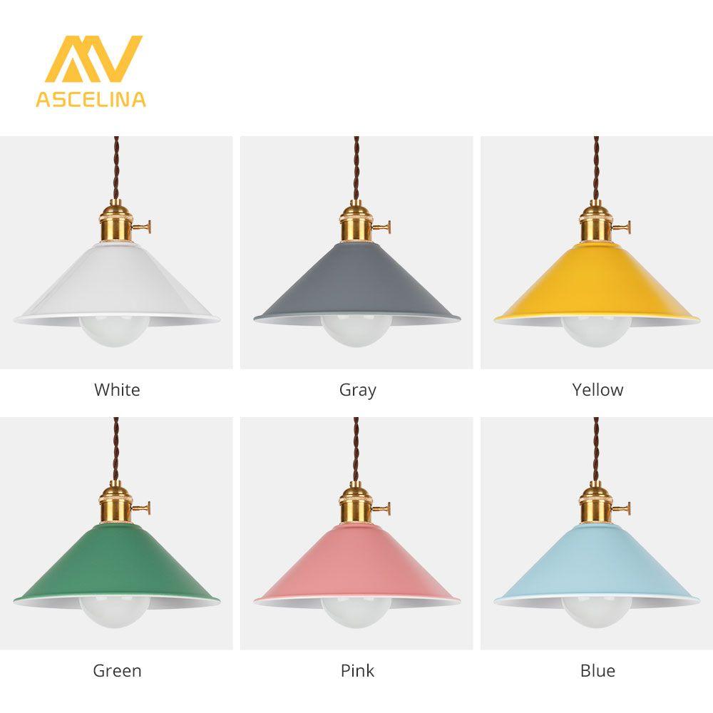 ASCELINA Modern E27 Pendant Lights dining Room Lights Pendant Lamp Multicolour lamp shade Hanging Lamps For Home Lighting