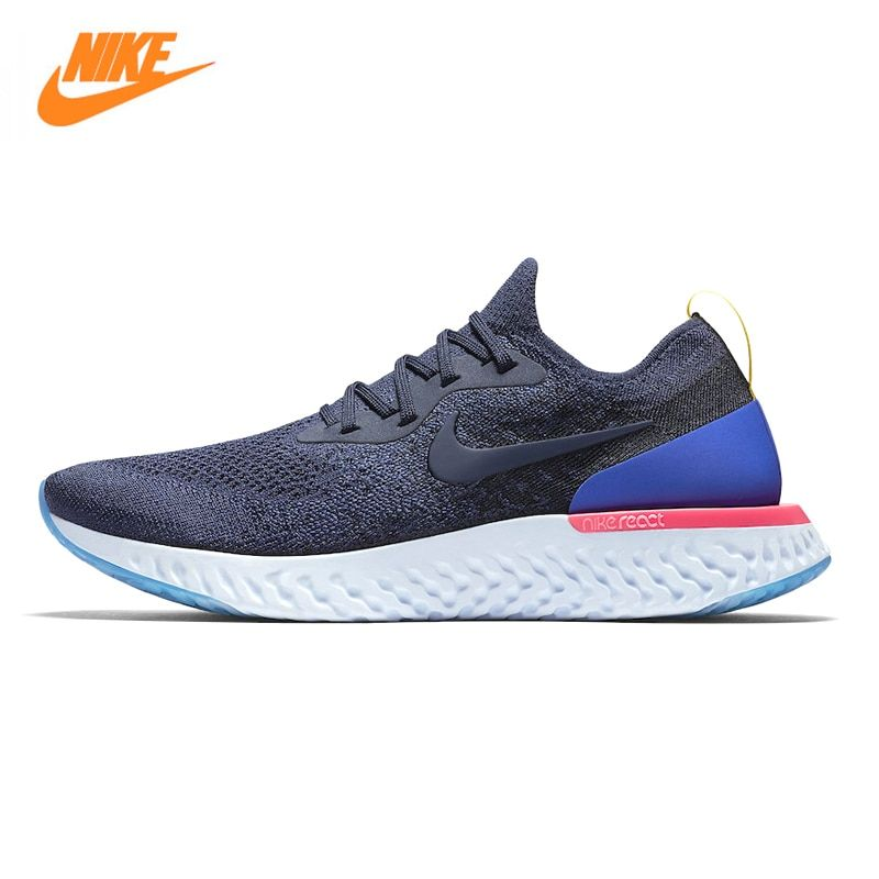 Nike Epic React Flyknit Men's Running Shoes, White / Dark Blue, Non-Slip Breathable Sweat-absorbent AQ0067 400 AQ0067 101