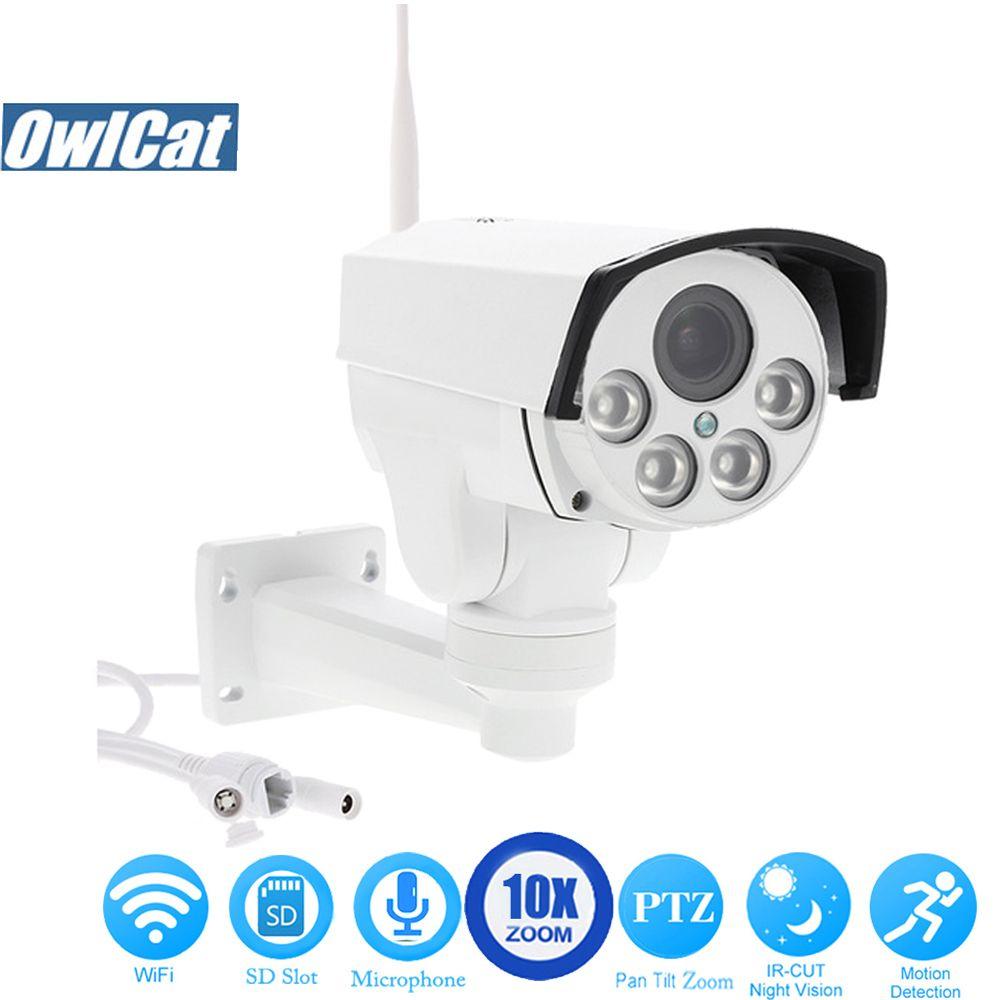 OwlCat HD 1080 P Étanche/Bullet Extérieure PTZ Wifi IP Caméra 2.0mp 5X 10X zoom optique Sans Fil micro audio IR Onvif 2.4 SD Carte