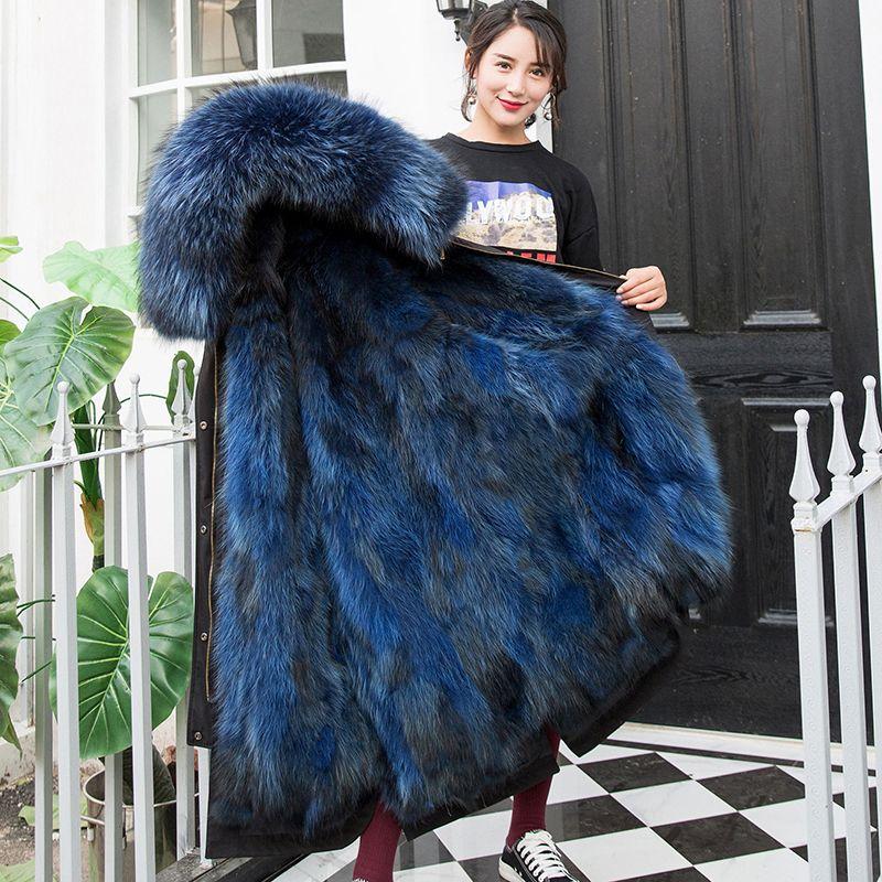 Super Warm Winter Women's Raccoon Fur Parker Coat 2018 High Grade Raccoon Fur Collar Womens Winter Park Coat With Hood Zipper