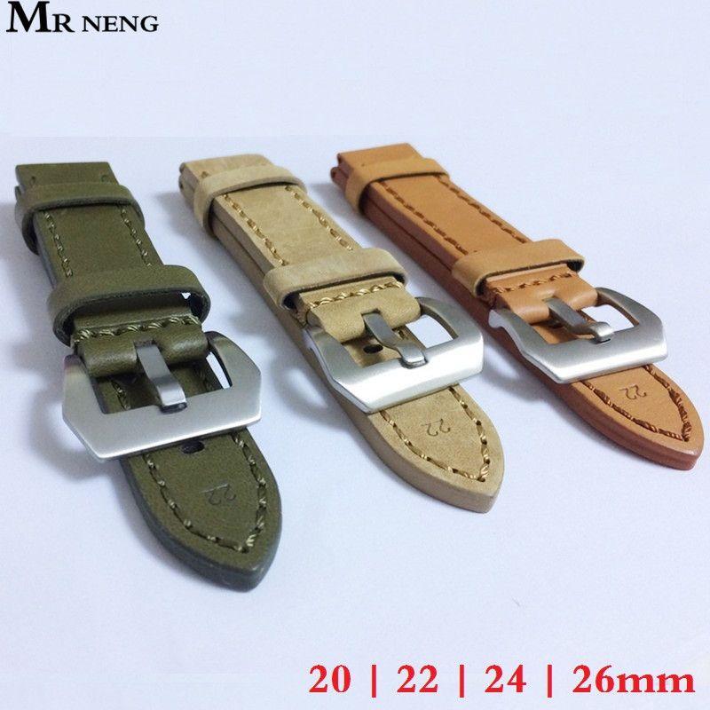 20mm 22mm 24mm 26mm bracelet de montre en cuir bracelet de montre homme bracelets de montre vert Orange Beige avec boucle en acier inoxydable argent