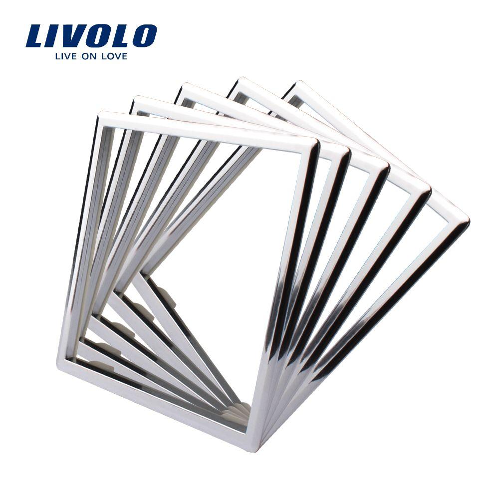 Livolo EU Standard Socket Accessory, Decorative Frame For Socket, One pack/5pcs ,Silver Color