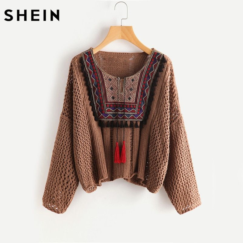 SHEIN Tasseled Tie Embroidered Yoke Eyelet Jumper Autumn <font><b>2017</b></font> Coffee Round Neck Long Sleeve Casual Loose Sweater