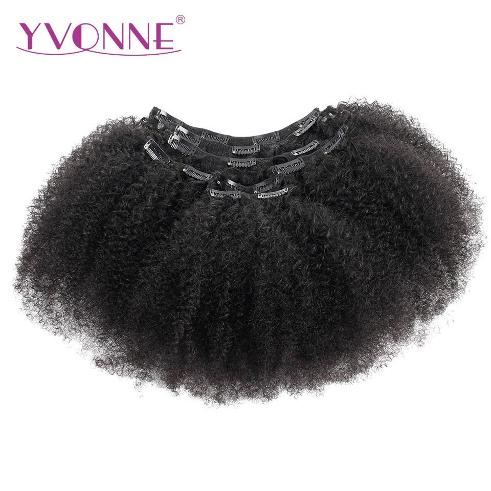 YVONNE HAIR Afro Curly Clip In Human Hair Extensions Brazilian Virgin Hair 8inch-28inch 7 Pieces/Set Natural Color 120g/set