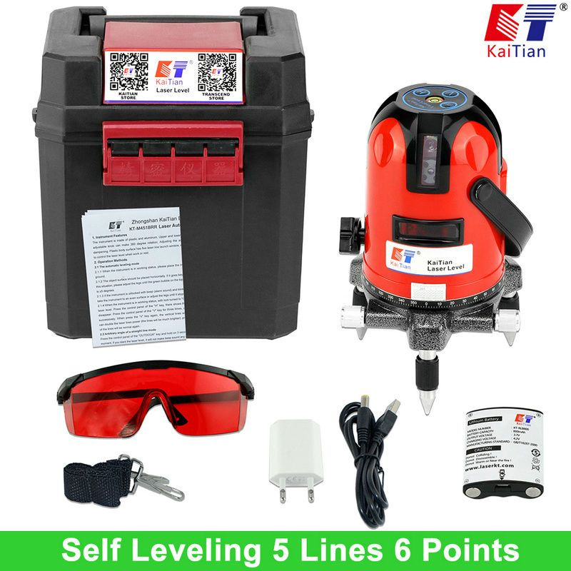 KaiTian Laser Level Battery 5 Lines 6 Points Level with Slash Function/360 Rotary Self Lleveling Outdoor EU 635nm Lazer Levels