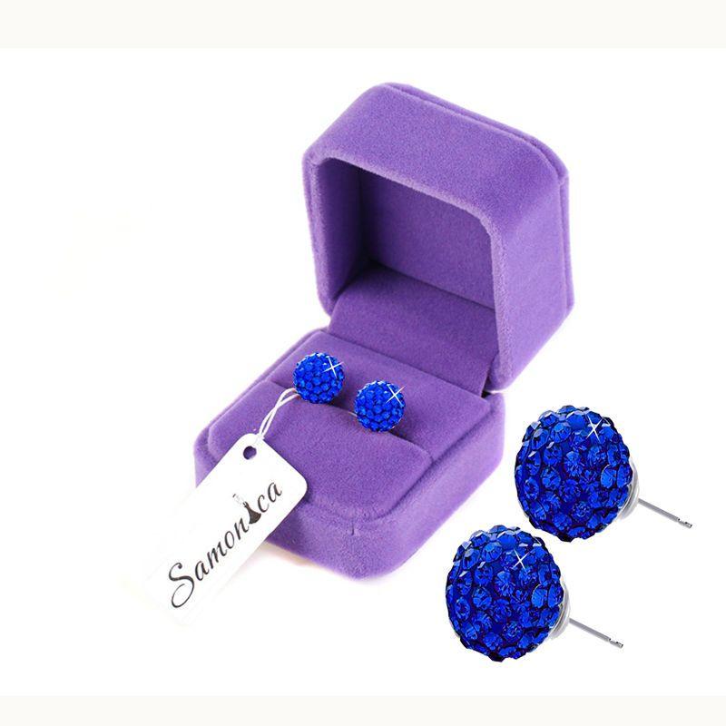 Boucles d'oreilles bleu Royal 7 rangées boule en cristal polymère argile tchèque 925 boucle d'oreille en argent Sterling boucle d'oreille arrière 10 MM pour femmes et hommes