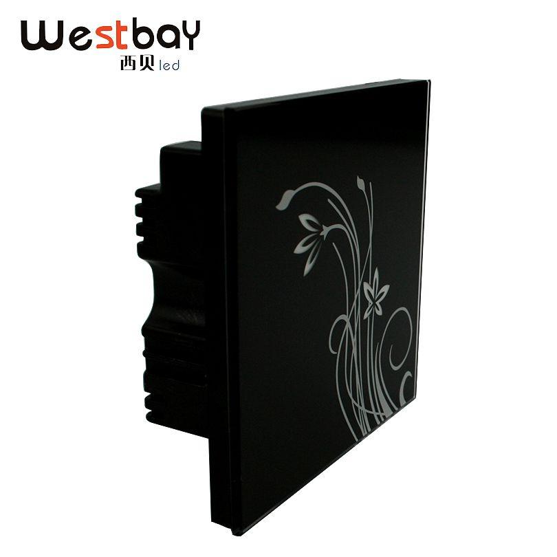 Westbay Interrupteur Du Panneau De Verre Noir Couleur 2 gang 2way sur/off Interrupteur Tactile Haute Qualité Lumière Commutateur AC100-250V