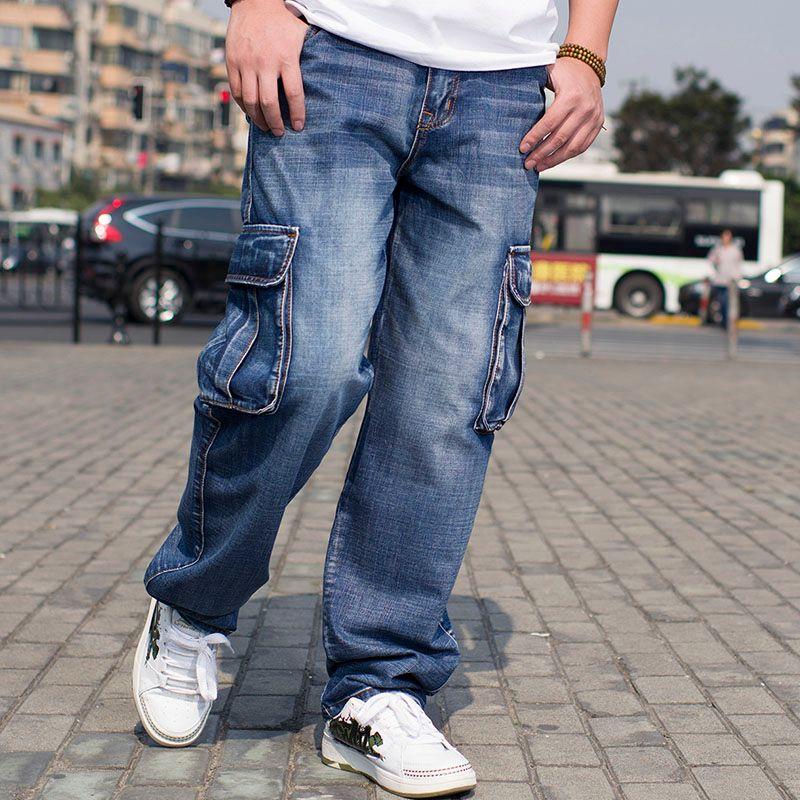 Plus la Taille Mens Denim Pantalon Cargo Jeans avec Poche Cargo Sur les Côtés Hanche Hop Baggy Jeans Hommes Loose Fit Long Pantalon Grande Taille 40 44 46