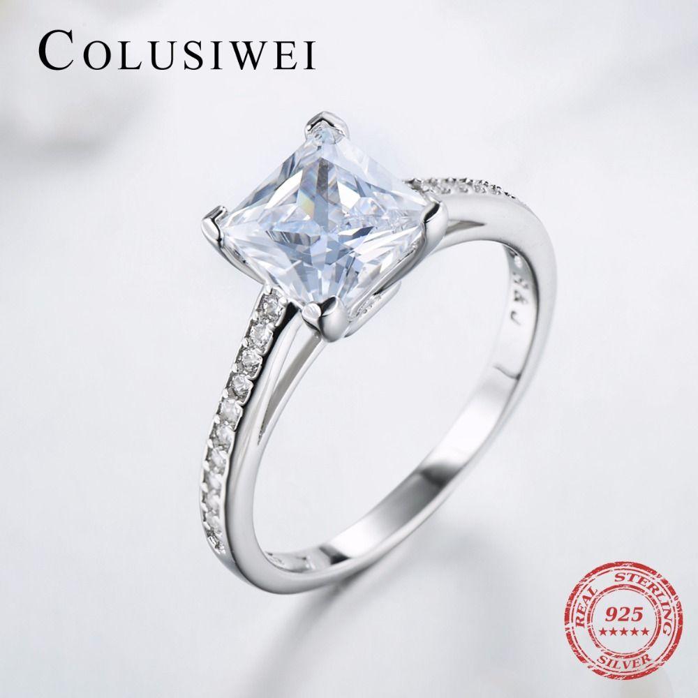 2019 de luxe marque Engagement AAAAA cubique Zircon anneaux réel 925 en argent sterling bague de mariage de mariée bijoux fins pour les femmes